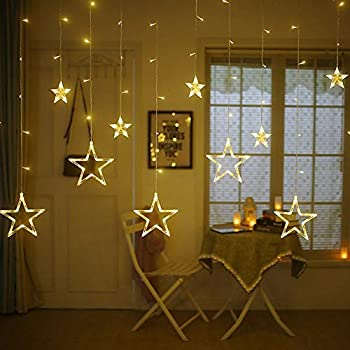 KIDSOR 138 LED Curtain String Lights with 8 Flashing Modes Decoration(12 Stars, Warm White)