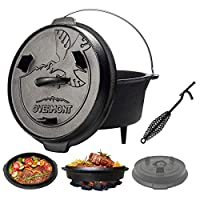 Overmont 8.8 Litre / 5.7Litre All-Round Dutch Oven 【 Dual Function : Lid Skillet 】【 with Lid Lifter 】【 Pre Seasoned 】 Cast Iron Dutch Oven for Camping Cooking BBQ Baking 27