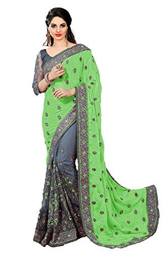 Panash Trends Silk Saree With Blouse Piece (Green & Grey_Free Size)