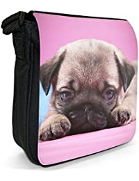 China Asian Love Pug Dogs Small Black Canvas Shoulder Bag - Size Small