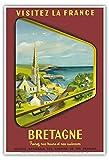 Bretagne - Visitez La France - SNCF (Société nationale des chemins de fer français) - affiche ancienne vintage poster de voyage en train chemin de fer by Jean Garciac.1953 - Reproduction Professionelle d'art Master Art Print - 33cm in x 48cm...