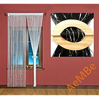 AeMBe - Fadenvorhang Fadengardine Türvorhang - Breite: 100 cm, Größe: 200 cm - Schwarz / Silberschmuck - Höchste Qualität