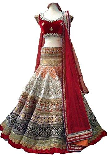 lehenga Choli (Sai Fab Women\'s Brocade Multicolor Free Size Lehenga Chaniya Choli)