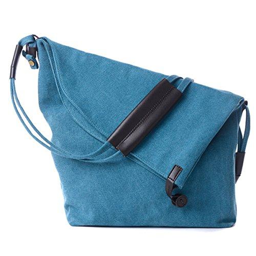 Butterme Sacchetto di spalla del messaggero casuale della tela di canapa del messaggero semplice delle donne degli uomini (Blu) Blu