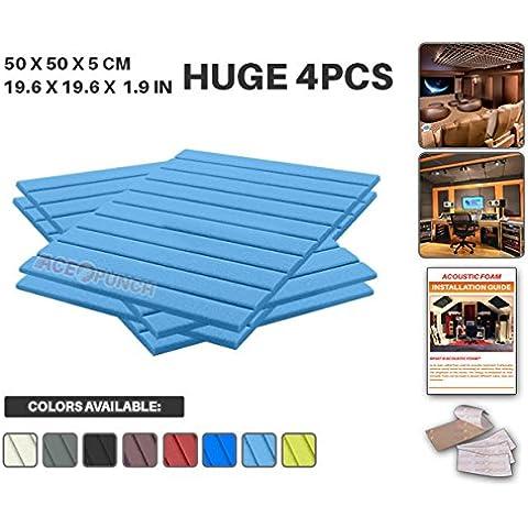 Ace Punch 4 Pezzi Wedge Schiuma Acustica Pannello Isolamento Acustico Diffusore Acustici Parete Fai da te con Free Montaggio Schede 50 x 50 x 2 cm Bambina Blu AP1035