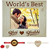 Yaya Cafe Rakhi Gifts For Brother Bhabhi Combo, Worlds Best Bhai Bhabhi Engraved Wooden Photo Frame For Table With Rakhi