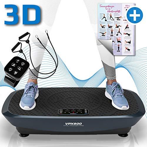 Kinetic Sports 3D Vibrationsplatte VPX800 VITAL Trainer PRO +2 leistungsstarke Motoren +Intuitiv +Leicht zu Bedienen +Fernbedienung +Trainingsposter +Trainingsbänder +Vibration Oszillation GRAU