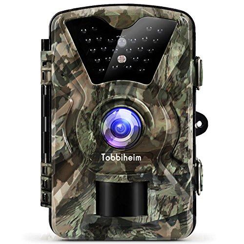 Tobbiheim Wildkamera 12 MP 1080P HD Nachtsicht Infrarot Bewegungsmelder IP68 Wasserdicht mit 2,4 Zoll LCD Anzeige