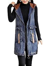 Frauen Lang Denim Weste Jacket Oberteil Mit Kapuz Lose Stickerei Jeansweste… f18856c471