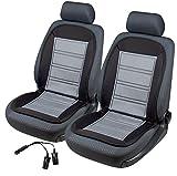 2x beheizbare Sitzauflage/Sitzheizung Warm Up 16590 schwarz/grau + Doppelsteckdose für 12V Zigarettenanzünder
