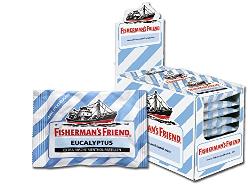 Fishermans Friend Pastillen (Fisherman's Friend Eucalyptus | Karton mit 24 Beuteln | Menthol und Eukalyptus Geschmack | Zuckerfrei für frischen Atem)