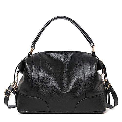 cf39a14604a3b Baymate Vintage Handtasche für Damen PU Leder Hobo Umhängetasche Tote Bag  Schwarz