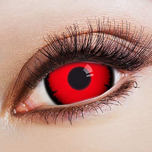 Kostüm Am Besten Dämon - aricona Kontaktlinsen Farblinsen rote Sclera Kontaktlinsen 17mm 2er Set farbige Jahreslinsen