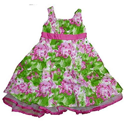 Brooke Lindsay Mädchen Sommer Petticoat Kleid mit hervorschauender Tüll Rüsche Grün Weiß Pink (98) -