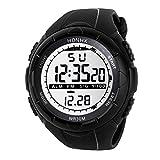 Yanhoo Digitale Sportuhr,Mode Herrenuhren 50M Wasserdicht LCD Digital Stoppuhr Datum Gummi Multifunktions Sport Armbanduhr (Schwarz)