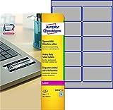 Avery Zweckform L6012-20 Typenschild-Etiketten (A4, 200 Stück, 96 x 50,8 mm, wetterfest) 20 Blatt silber