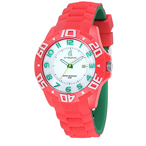 Spinnaker - SP-5024-01 - Fastnet - Montre Homme - Quartz Analogique - Cadran Blanc - Bracelet Silicone Rouge