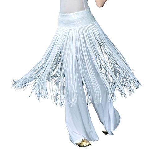 tanz Verpackungs Hüfte Schal Gurt Schal Hüfttuch Elastische Paillette Lange Fransen Orientalischer ägyptischer Arabischer Tanz Kostüm Zusätze Weiß (Ägyptische Bauchtänzerin Kostüm)