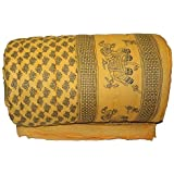 Mahadev Handicrafts World Famous Light Weight Pure Cotton Jaipuri/Rajasthani Print Light Yellow Colour Reversible Single Bed Quilt/Razai / Rajai/dohar/ac Blanket/falalen/Yellow Rajai