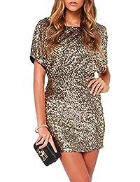 89d5772f5bd Smile YKK Sexy Hinten Schlitz Damen Kurze Aermel Sommer Minikleid Bodycon  Kleid Cocktailkleid
