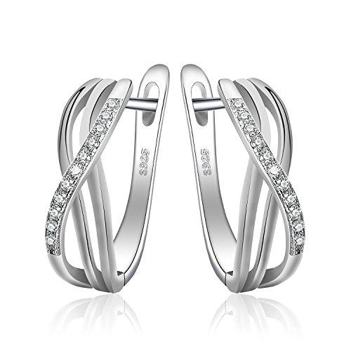 JewelryPalace Unendlichkeit Knoten Zirkonia Jahrestag Huggie Hoop Ohrringe 925 Sterling Silber