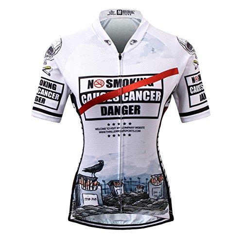 Thriller Rider Sports® Damen No Smoking Sport & Freizeit MTB Fahrradbekleidung Radtrikot (Tombstone Lustig)