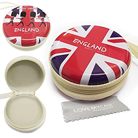LOVE MY CASE / Metal UNION JACK London, England MP3 Player Case, Hard Clamshell Case, Earphone Case, Holder for Apple iPod Shuffle 2nd / 3rd / 4th Generation with Love My Case Cleaning Cloth