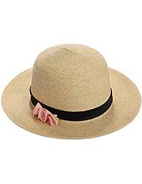 Mujer a lo largo del sombrero para el sol Verano picnics plegables de viaje  de ala ancha sombrero de paja grande flor… e16621352ff