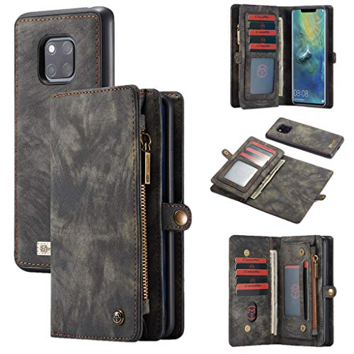 Detail Zip Wallet (Momoxi Phone Accessory Huawei Handyhülle Handy-Zubehör Neuer CASEME für Huawei Mate 20 Pro 2-in-1 12 Slots Wallet Zip Leather Case lite hülle)