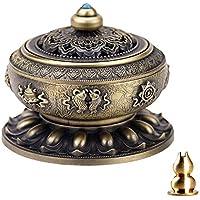 Guwheat quemador de incienso, diseño de Tíbet Lotus cobre aleación (Stick/cono/incienso) con latón Calabash soporte para incienso