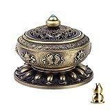 Guwheat Lega di rame del loto del rame del bruciatore del supporto di incenso (bastone / cono / incenso della bobina) con il supporto del bastone di incenso di Calabash d'ottone (Bronzo)
