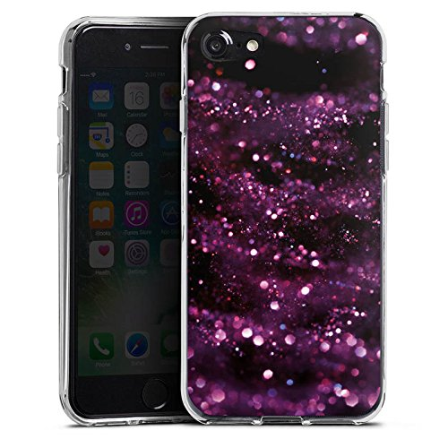 Apple iPhone X Silikon Hülle Case Schutzhülle Glitzer Muster Lila Silikon Case transparent