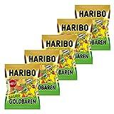 Haribo Sauer Goldbären, 5er Pack, Saures Gummibärchen Sauer, Weingummi, Fruchtgummi Sauer, Im Beutel, Tüte