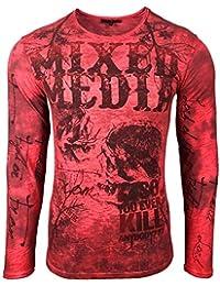 268b8eb3f1b273 Herren T-Shirt Langarm Longshirt Muster Druck Style 101 Mix