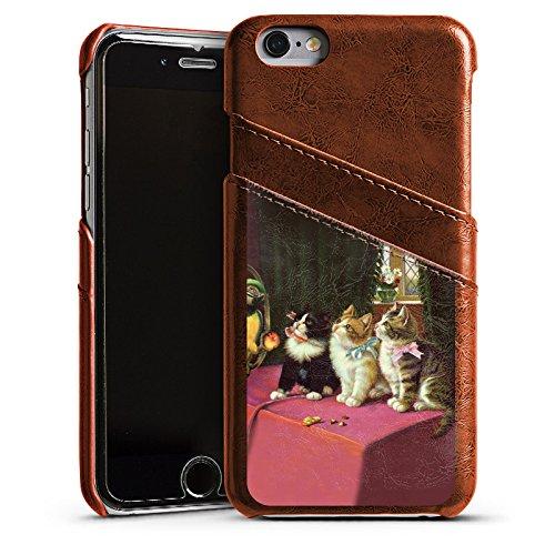 Apple iPhone 4s Housse Étui Silicone Coque Protection Paul Klee Des chats et un perroquet Art Étui en cuir marron