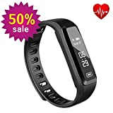 Fitness Tracker, Witmoving New Sport Water Resistant Smart Bracelet Wristband Watch with Heart Rate Monitor Pedometer Touchscreen for iPhone Samsung IOS Android Smartphones (Black)