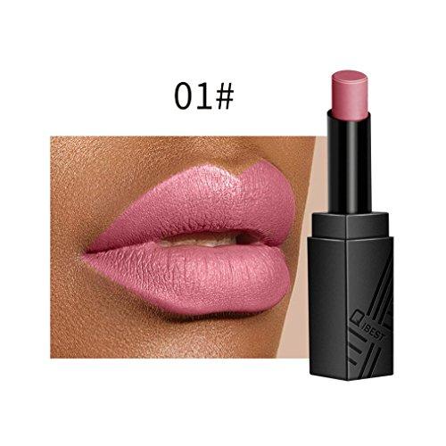 Huihong QIBEST 2 Euro Samt Matte Lippenstift Langlebige Und Wasserdichte, Schwer Zu Verblassen, Feuchtigkeitsspendend, Bequem, Geschmeidig Und Seidig Fühlen 34 Farben Optional (01#)