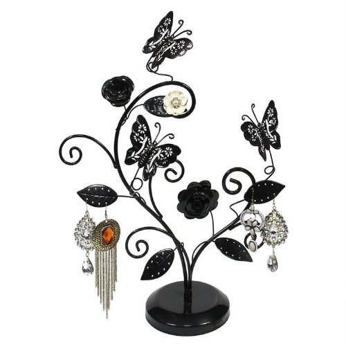 HQdeal Schmetterling und Baum Schmuck Ständer Display Ohrring Halskette Armband Halter Schmuck Ständer Rack Organizer Geschenk ideal