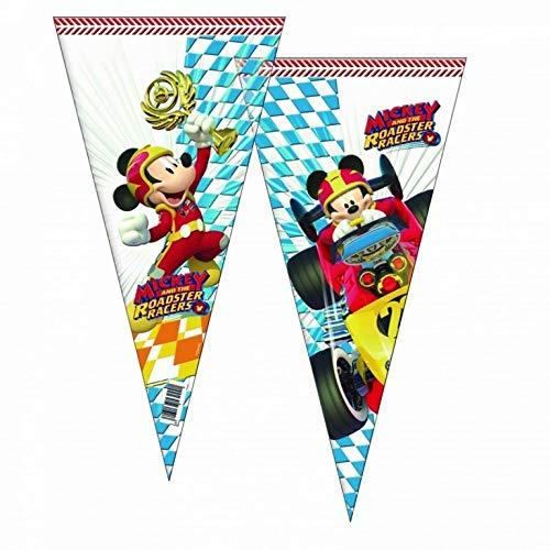 ALMACENESADAN 2360; Pack 6 Disney Mickey Mouse Kegelbeutel und Superpiloten; ideal für Partys und Geburtstage; Taschen für Geleebonbons oder Geschenke; Kunststoffprodukt; Abmessungen 20x40 cm
