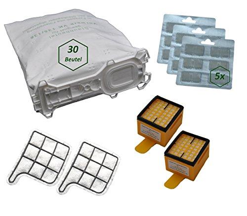 64 tlg. SET geeignet für Vorwerk Kobold Kobold 135 / 136 / 135SC / VK135 / VK136 / 135SC 30 Beutel 30 Duftblock 2 Hygienefeinfilter 2 Motorschutzfilter