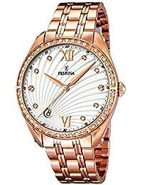 Festina - F16896-1 - Montre Femme - Quartz Analogique - Cadran Blanc - Bracelet Acier Bronze