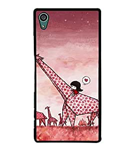 Fuson Premium 2D Back Case Cover Cute baby on Giraffe With blue Background Degined For Sony Xperia Z5 Compact::Sony Xperia Z5 Mini