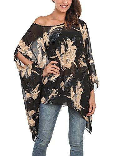 Djt T-shirt Imprime Tops Manches Chauve-souris en Tulle pour Femme Noir-fleur