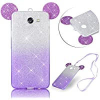 For Galaxy J7 2017 Case,by Vandot Accessories Bling Starry Gloss Cute 3D Mouse Ear Pattern [Soft Flexible] TPU Gel [Slim & Lightweight] Protective Back Cover-Exact Fit for Samsung Galaxy J7 SM-J720-Gradient Purple+Neck Strap Lanyard