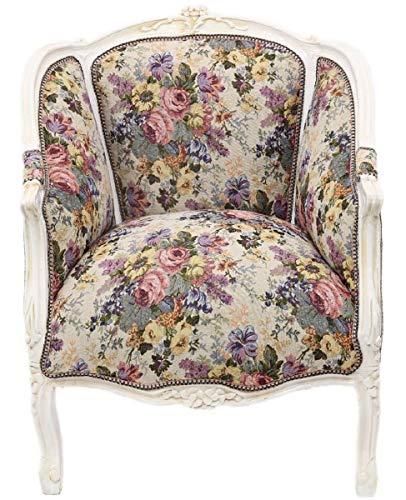 Casa Padrino Barock Salon Lounge Sessel mit Blumenmuster Mehrfarbig/Antik Weiß 70 x H. 100 cm - Barockmöbel -