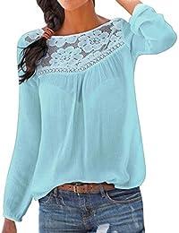4f1ef81217 JiaMeng Bluse Manica Lunga da Donna - Camicia di Pizzo a Maniche Lunghe  Camicetta delle Camicette