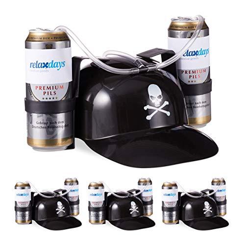 Relaxdays 4 x Trinkhelm Pirat, Helm mit Schlauch, für 2 Dosen Bier, Karneval Spaß Partyartikel, Totenkopf Bierhelm, schwarz