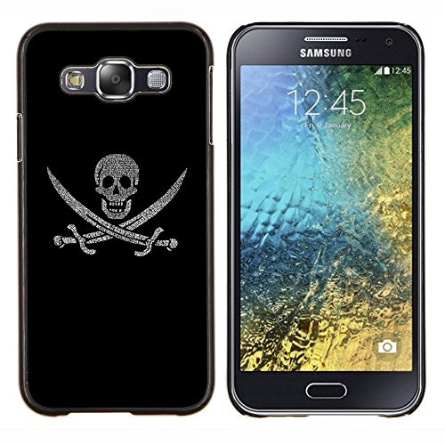 GRECELL CITY GIFT PHONE CASE /// Cellphone Custodia protettiva Caso Dura Cassa Copertura / Hard Case for Samsung Galaxy E5 E500 /// Pirate Iscriviti Flag Ship Teschio Spade Simbolo Art Pirate Sign Flag Ship Skull Swords Symbol Art