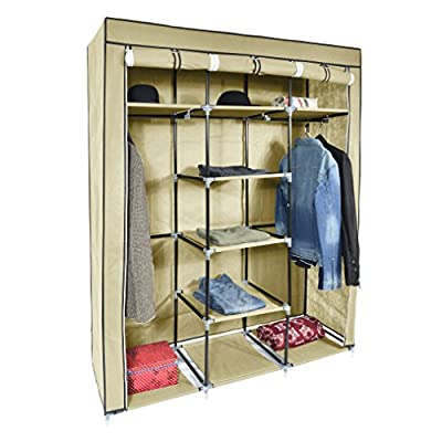 Harima - Victual Beige Triple 3 Door Deluxe Canvas Wardrobe Garment Rail Bedroom Furniture Storage Organiser Foldable Lightweight Non-Woven Fabric Clothes Rail Cupboard with 5 Coat Hangers Included produced by Harima - quick delivery from UK.