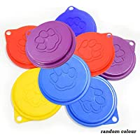 CRIVERS Durable Pet Cat Dog Food Storage Can Covers Lids Can Tops, Random Color (Grande+8pc)